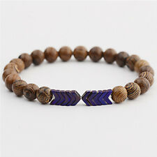 Fashion Purple Multilayer Silver Arrow Natural Wooden Beads Women Men Bracelets