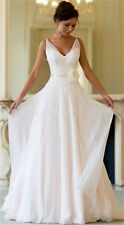 V-Neck Chiffon Beach Wedding Dress Bridal Gown Custom Size 4 6 8 10 12 14 16 18