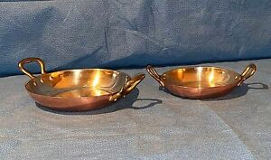 Two Mauviel Copper 6.25 Inch  4.75 Inch Round Two Handle Au Gratin Pans France