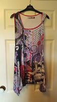 Smash size L sleeveless tunic purple patterned top