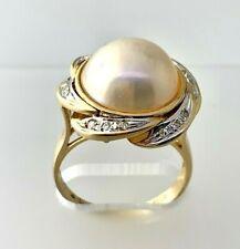 Mabe Pearl & Diamond Statement Ring 14k Yellow Gold  Size 10