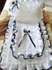 DOLLS PRAM SET COVER & PILLOW TO FIT A SILVER CROSS COACH BUILT WHITE AND NAVY