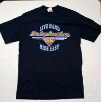 HARLEY DAVIDSON CAFE LAS VEGAS Live Hard Ride Easy Blue SHIRT MEDIUM