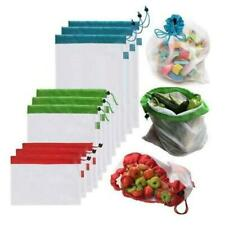 New listing Produce Bags Reusable Polyester Mesh Drawstring Large Medium Small (9 Pieces)