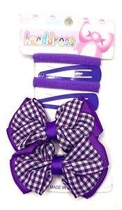 School Hair Set Clips Bobbles Bendies Bow Clips 6 Piece Set Girls Hair Accessory