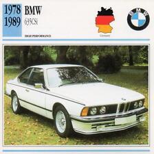 1978-1989 BMW 635CSi Classic Car Photo/Info Maxi Card