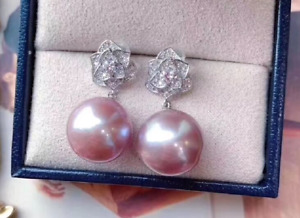 gorgeous 10-11mm south sea round lavender pearl earring 925s