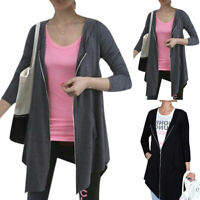 Women Long Sleeve Zip Up Hooded Cardigan Pockets Loose Stretch Outwear Coat Tops