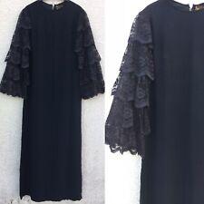 VINTAGE 60's 50's PAUL JONAS DECO GOTHIC BLACK CREPE LACE MAXI DRESS 12 14