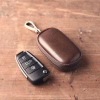 Genuine Vintage Leather Key Case Bag Ring Chain Tanning Men Women Car Wallet Zip