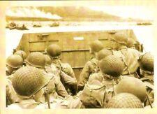 "Vintage style WW 2 Era - patriotic ""Storming the Beach""  themed postcard."