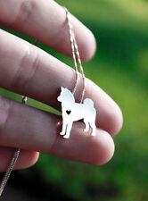 Halskette mit Anhänger. Schmuck - Hund mit Herz. Shiba Inu (Akita Inu) - Hachiko