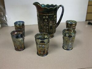 Vtg Fenton Carnival Glass Tumblers Butterflies and Berries Set with pitcher