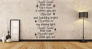 TWINKLE, UP IN HEAVEN, ANGEL, STAR, SHINING BRIGHT, WALL ART VINYL STICKER DECAL