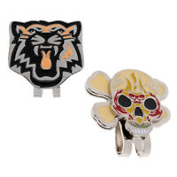 2 Pieces Alloy Tiger Skull Magnetic Hat Cap Visor Clip Golf Ball Marker Gift