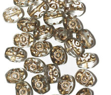 Gilded Transparent Gray Oval Czech Pressed Glass Beads 10mm (pack of 30)