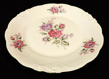 Walbrzych 10 in plate deep pink & purple flowers  scalloped gold trim Poland