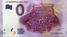 BILLET 0 ZERO EURO SOUVENIR TOURISTIQUE MEMORIAL DE CAEN  2017