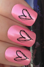 VALENTINES DAY NAIL ART SET #347 x24 DRAWN HEARTS WATER TRANSFER DECALS STICKERS