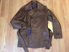 Polo Ralph Lauren purple label brown leather Pea Coat Jacket S small $6,995 rare