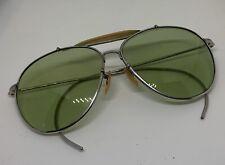Vintage Baush & Lomb Aviator Pilot Sunglasses WII Era Green Glass Lens