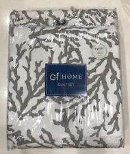 Cora Gray Coastal 1 Quilt Set Quilt + 1 Sham Gray+Ivory Reversible C&F