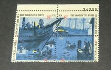 #1480-83 perf. shifted down Boston Tea Party block of 4 mint NH OG