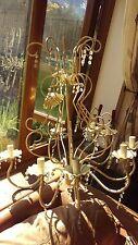 8 BRACCIO, panna, shabby chic, ferro battuto, Candelabri lampadario, pesante, grande,