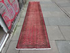 Vintage Traditional Hand Made Oriental Pink Red Wool Long Narrow Runner 376x82cm