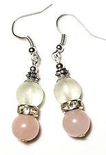 Short Silver Rose Quartz & White Earrings Glass Bead Drop Dangle Pierced Hook