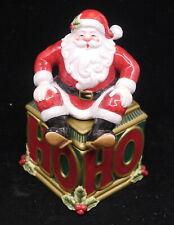 Fitz & Floyd Ho Ho Ho Santa Claus Lidded Trinket Box, w Original Box, Christmas