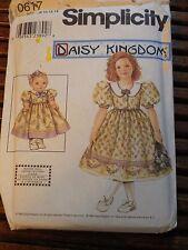 "0617 Daisy Kingdom Girl's Dress & 18"" Doll Pattern Sz 7 8 10 12 14 Uncut"
