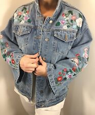 Denim Jacket Sequins Florals Stonewashed Embroidery Detail Plus Size 18-22 NEW