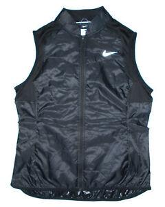 NIKE Running Vest BLACK AeroLayer Packable Insulated Lightweight RUN Mens NEW Lg