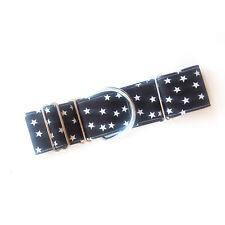 "1.5"" Martingale Dog Collar BLACK STAR Greyhound Lurcher 12""-17"" MEDIUM"