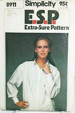 Simplicity ESP 8911 Vintage Sewing Pattern Misses Tunic Shirt Plus Size 12-14-16