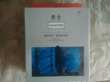 Hunter Welly Blue Cable Knit Welly Tall Boot Socks Medium New