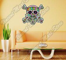 "Hippie Skull Peace Love Woodstock Life Wall Sticker Room Interior Decor 22""X22"""