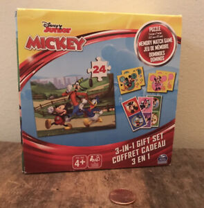 Disney Junior Mickey Mouse 3 in 1 SET: Puzzle, Memory Match Game, Dominoes, NEW