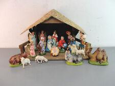 CHRISTMAS NATIVITY SET 18 PIECE WOOD CRECHE MANGER ITALY JESUS MARY JOSEPH VTG