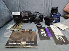 BLACK OLYMPUS OM-2 35MM SLR CAMERA + OM f ZUIKO 50MM F1.8 LENS & Accessories