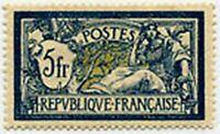 "FRANCE STAMP TIMBRE YVERT N° 123 "" TYPE MERSON 5F BLEU ET CHAMOIS "" NEUF x TB"