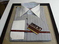 Carreli Dress shirt French Cuff Meduim white spread black gray stripe