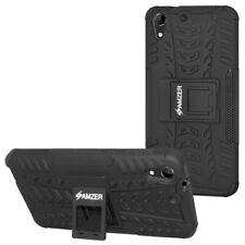 AMZER Dual Layer Rugged Hybrid Warrior Case Stand For HTC Desire 728 728G -Black