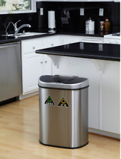 Double Stainless Steel Recycling Trash Bin Garbage Sorter Touchless Sorter Can