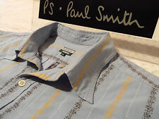 """PAUL SMITH Mens Shirt 🌍 Size XL (CHEST 48"""") 🌎 RRP £95+ 🌏 FLORAL STYLE STRIPES"""