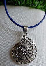 Nautilus Schnecke Halskette Echt Leder Kette Blau Muschel Maritim