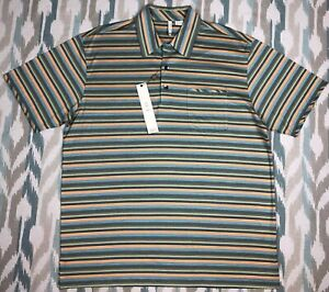 Axis Men's Short Sleeve Shirt Striped Polo Size L Large
