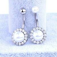Rhinestone Pearl Navel Rings Belly Button Bar Ring Dangle Body Piercing Jewelry~