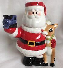 2002 Lenox Rudolph Red Nosed Reindeer Pitcher Mug Lid Teapot Christmas Santa
